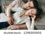 happy young couple relaxing on...   Shutterstock . vector #1298305003