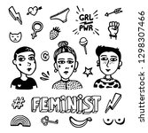 black and white feminist... | Shutterstock .eps vector #1298307466