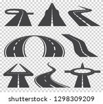 winding curved road or highway...   Shutterstock .eps vector #1298309209