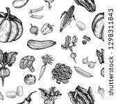 seamless pattern of vegetable.... | Shutterstock .eps vector #1298311843