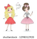 hand drawn beautiful cute girl...   Shutterstock .eps vector #1298312920