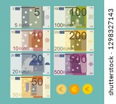 euro currency banknote vector... | Shutterstock .eps vector #1298327143