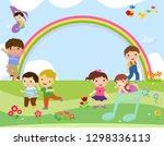 kids and rainbow | Shutterstock .eps vector #1298336113