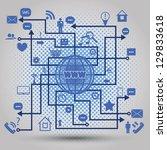 abstract map of social media... | Shutterstock .eps vector #129833618