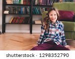 funny happy 9 years old kid... | Shutterstock . vector #1298352790