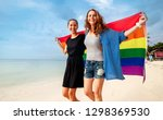 beautiful female young lesbian... | Shutterstock . vector #1298369530