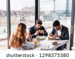 group of business people having ... | Shutterstock . vector #1298375380