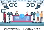 news tv show studio. presenters ... | Shutterstock .eps vector #1298377756