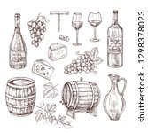 sketch wine set. grape  wine... | Shutterstock .eps vector #1298378023