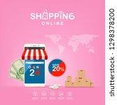 shopping online on website or...   Shutterstock .eps vector #1298378200