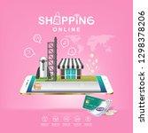 shopping online on website or...   Shutterstock .eps vector #1298378206