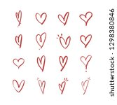 heart doodle icons  hand drawn...   Shutterstock .eps vector #1298380846