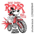 cartoon dog riding a motorcycle ... | Shutterstock .eps vector #1298389849