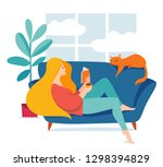vector hygge illustration with... | Shutterstock .eps vector #1298394829