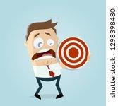 afraid cartoon man holding a... | Shutterstock .eps vector #1298398480