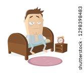 tired cartoon man getting up... | Shutterstock .eps vector #1298398483