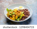 stir fry snow peas with pumpkin ... | Shutterstock . vector #1298404723