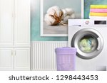 laundry room interior with... | Shutterstock . vector #1298443453