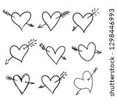 set of hand drawn doodle hearts ... | Shutterstock .eps vector #1298446993