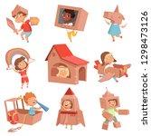 kids cardboard costumes.... | Shutterstock .eps vector #1298473126