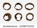 burn paper holes. fire damaged...   Shutterstock .eps vector #1298473153