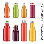 juice bottles. transparent jar... | Shutterstock .eps vector #1298473159