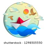 origami paper ship toy swimming ... | Shutterstock .eps vector #1298505550