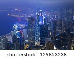 hong kong office buildings at... | Shutterstock . vector #129853238