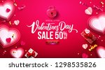 Stock vector valentine s day sale poster or banner with sweet gift sweet heart and lovely items on red 1298535826