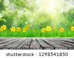 wooden table and spring grass... | Shutterstock . vector #1298541850