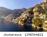 view of positano village along... | Shutterstock . vector #1298544823