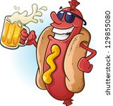 Hot Dog Cartoon Wearing...