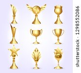 trophy cups set vector. success ... | Shutterstock .eps vector #1298552086