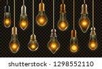 light bulb vintage set vector.... | Shutterstock .eps vector #1298552110