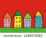 town  group of different houses ... | Shutterstock .eps vector #1298570383