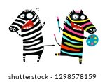 stressed and colorful zebras... | Shutterstock .eps vector #1298578159