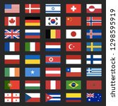40 world flags icons isolated... | Shutterstock .eps vector #1298595919