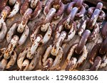 rusty chain with large links.... | Shutterstock . vector #1298608306