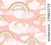 rainbow cute seamless pattern.... | Shutterstock .eps vector #1298615719