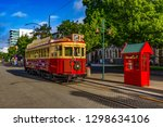 New Zealand, South Island. Christchurch, Canterbury Region. Restored heritage tram at Worcester Boulevard