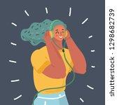 vector cartoon woman with... | Shutterstock .eps vector #1298682739