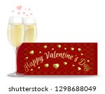 two glasses of champagne on the ... | Shutterstock .eps vector #1298688049