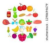 plantation icons set. cartoon... | Shutterstock . vector #1298694679