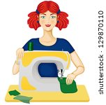 the woman sewing on the sewing... | Shutterstock . vector #129870110