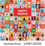 the collage of faces of... | Shutterstock . vector #1298718250