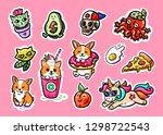 cool sticker pak. cute icons of ... | Shutterstock .eps vector #1298722543
