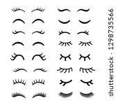 set of cute cartoon eyelashes....   Shutterstock .eps vector #1298735566