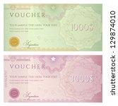 voucher template with guilloche ... | Shutterstock .eps vector #129874010