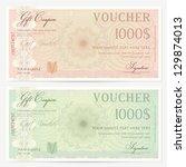voucher template with guilloche ... | Shutterstock .eps vector #129874013
