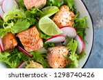 healthy lunch salad with baked...   Shutterstock . vector #1298740426